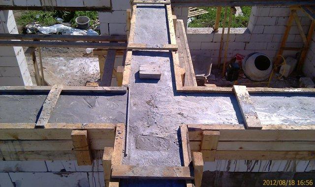 Залитый бетоном армопояс для газобетона